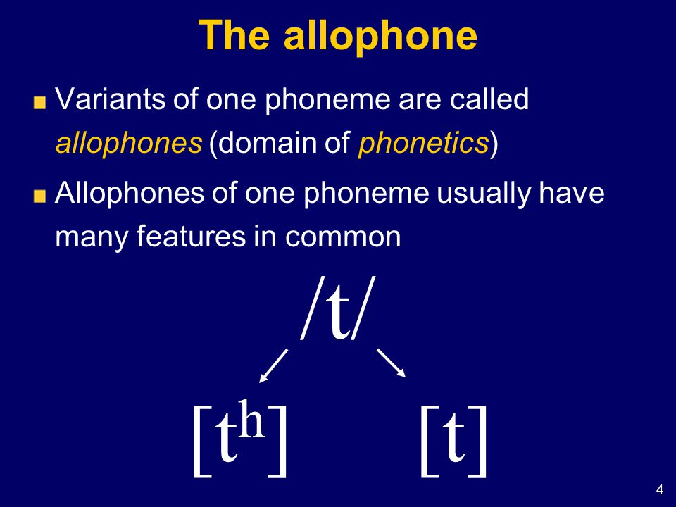 /t/ [th] [t] The allophone